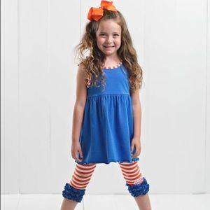 Ruffle Girl Blue & Orange Ruffle Legging Capri Set
